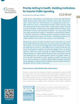 CGD Brief Priority-Setting in Health:  Building Institutions for Smarter Public Spending