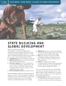 STATE BUILDING AND GLOBAL DEVELOPMENT