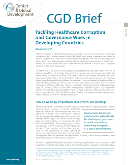 CGD Brief Tackling Healthcare Corruption and Governance Woes in Developing Countries