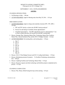 BUDGET PLANNING COMMITTEE (BPC) SEPTEMBER 17, 2014, 3:00 PM, BOARDROOM