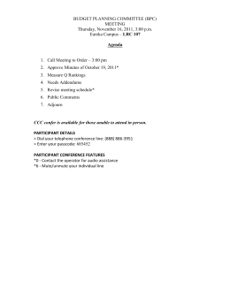 BUDGET PLANNING COMMITTEE (BPC) MEETING Thursday, November 16, 2011, 3:00 p.m. LRC 107