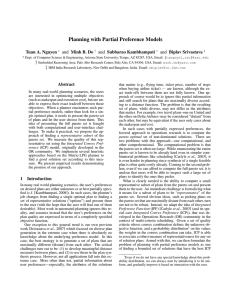 Planning with Partial Preference Models Tuan A. Nguyen and Minh B. Do
