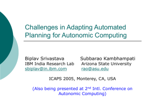 Challenges in Adapting Automated Planning for Autonomic Computing