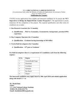 "V.V. GIRI NATIONAL LABOUR INSTITUTE Notification for Vacancy on ""ICT"