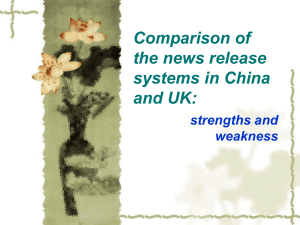 Comparison of the news release systems in China and UK: