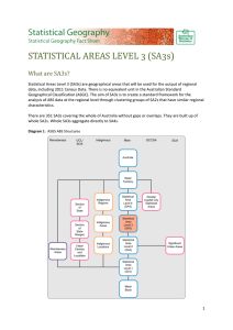 STATISTICAL AREAS LEVEL 3 (SA3s) What are SA3s?