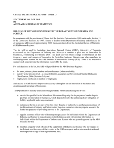 CENSUS and STATISTICS ACT 1905  STATEMENT NO. 2 OF 2015 BY