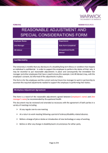 REASONABLE ADJUSTMENT AND SPECIAL CONSIDERATIONS FORM Confidentiality