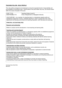 TEACHING FELLOW - ROLE PROFILE