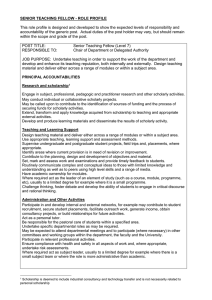 SENIOR TEACHING FELLOW - ROLE PROFILE