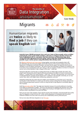 Data Integration Migrants Humanitarian migrants are twice as likely to