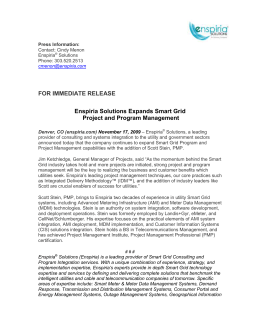 FOR IMMEDIATE RELEASE Enspiria Solutions Expands Smart Grid Project and Program Management