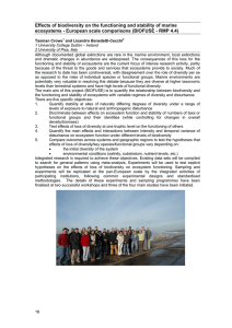 Effects of biodiversity on the functioning and stability of marine
