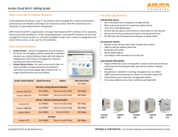 Aruba Cloud Wi-Fi: Selling Guide R C W