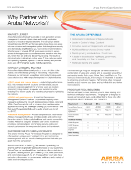 Why Partner with the aruba difference Market Leader U.S. and Canada