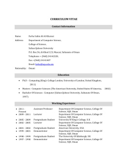 CURRICULUM VITAE Contact Information