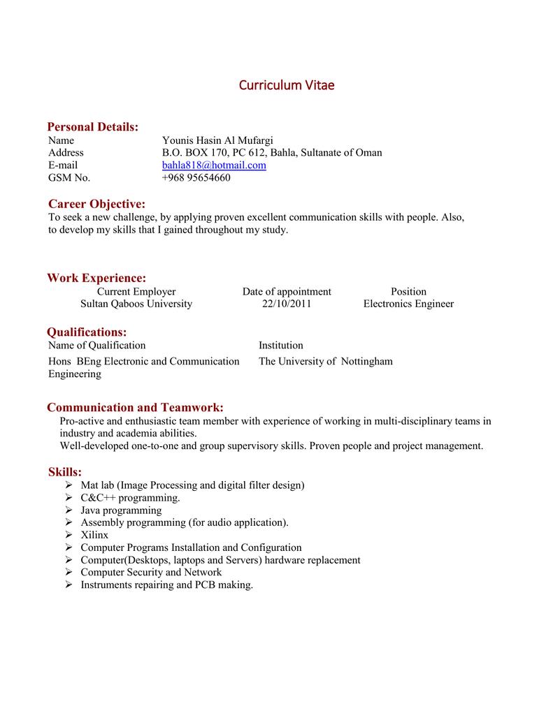 Curriculum Vitae Personal Details