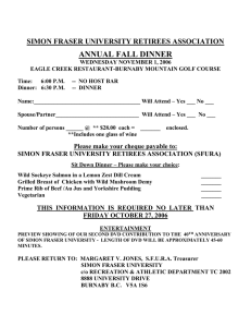 ANNUAL FALL DINNER  SIMON FRASER UNIVERSITY RETIREES ASSOCIATION