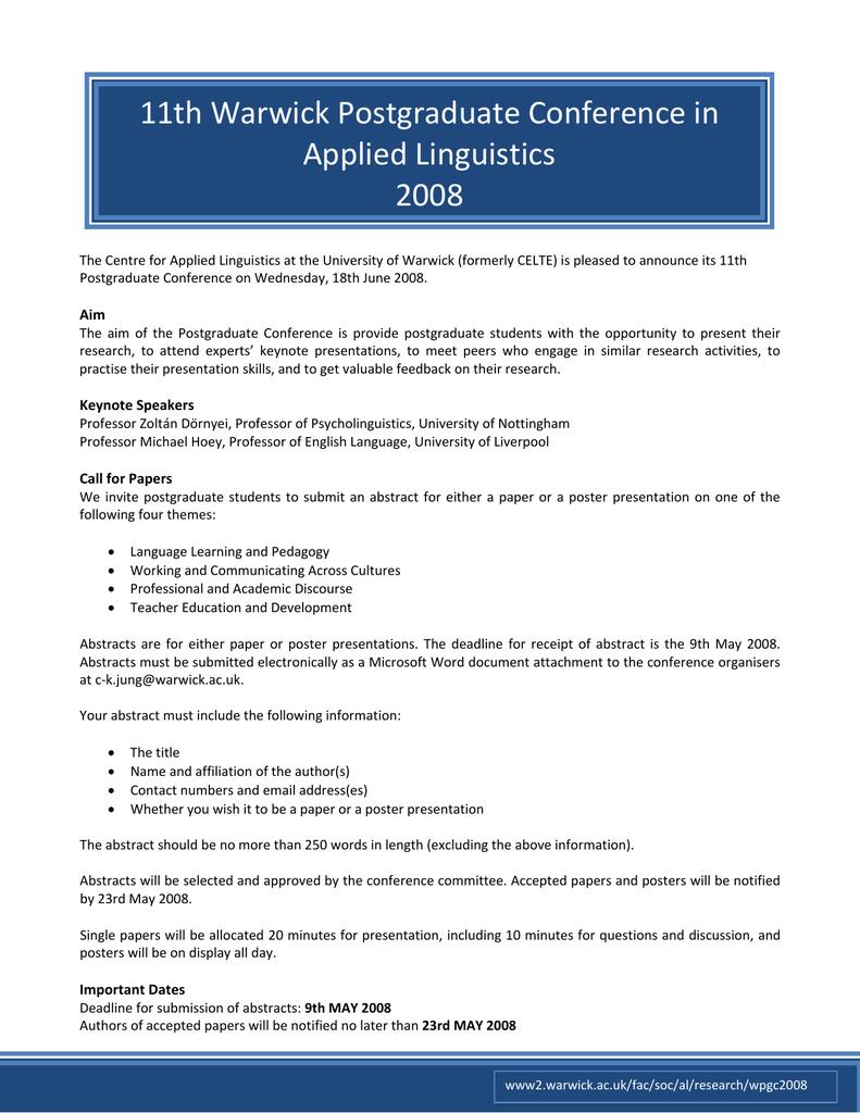 11th Warwick Postgraduate Conference in Applied Linguistics