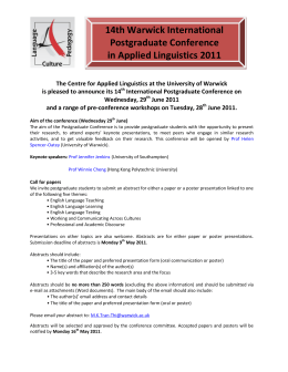 14th Warwick International Postgraduate Conference in Applied Linguistics 2011
