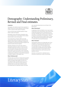 Demography: Understanding Preliminary, Revised and Final estimates.