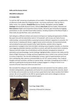 Kafka and the Human Animal HRC/CRPLA Colloquium 21 October 2015