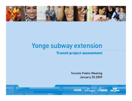 Yonge Subway Extension Transit Project Assessment