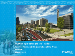 – update VivaNext rapid transit projects meeting