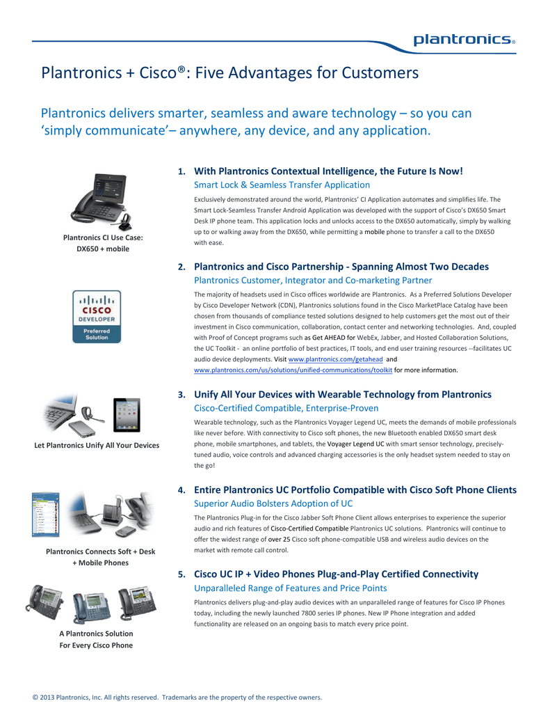 Plantronics + Cisco®: Five Advantages for Customers