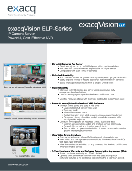 exacqVision ELP-Series IP Camera Server Powerful, Cost-Effective NVR
