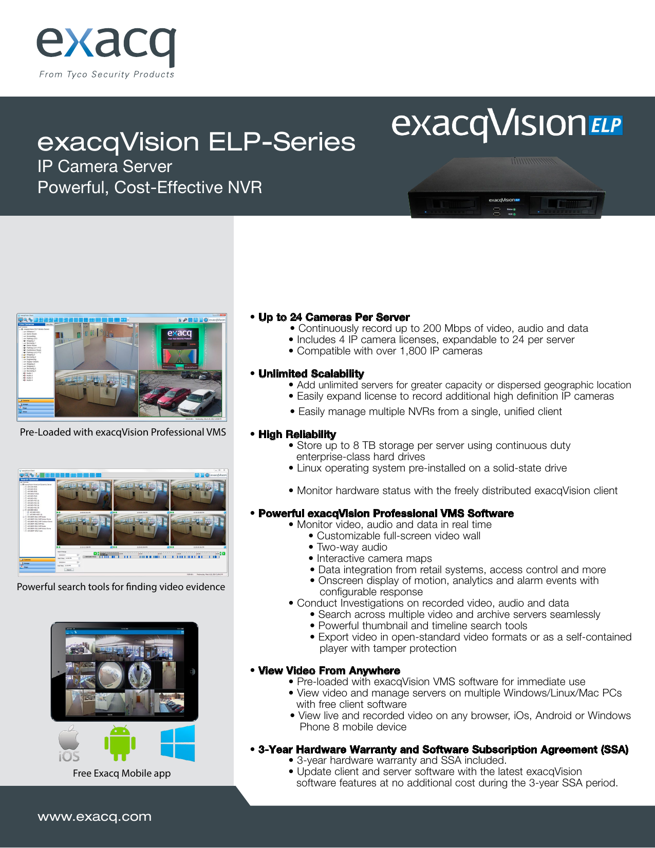 exacqVision ELP-Series IP Camera Server Powerful, Cost