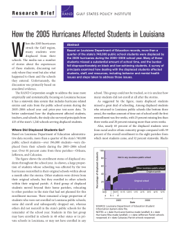 W How the 2005 Hurricanes Affected Students in Louisiana
