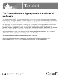 Tax alert The Canada Revenue Agency warns Canadians of mail scam