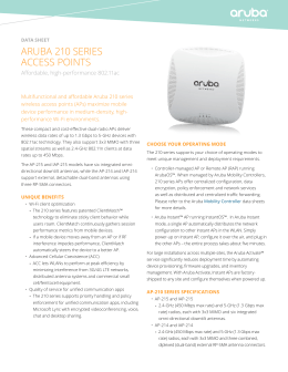 ARUBA 210 SERIES ACCESS POINTS Affordable, high-performance 802.11ac