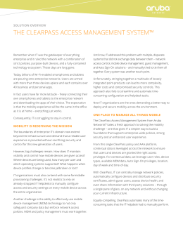 THE CLEARPASS ACCESS MANAGEMENT SYSTEM™ SOLUTION OVERVIEW