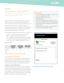CLEARPASS ONGUARd™ Enterprise-class endpoint protection, posture assessments and health checks data sheet