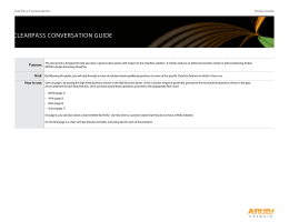 CLEARPASS CONVERSATION GUIDE Aruba Guide ClearPass Conversation
