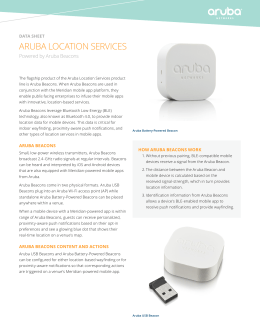 ARUBA LOCATION SERVICES Powered by Aruba Beacons data sheet