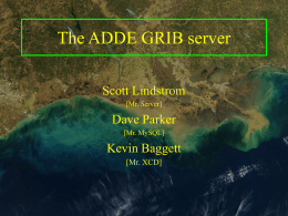 The ADDE GRIB server Scott Lindstrom Dave Parker Kevin Baggett