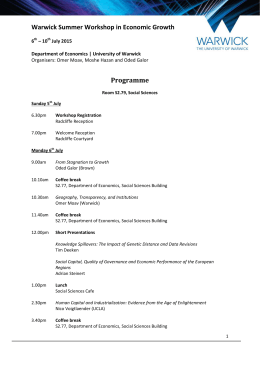 Warwick Summer Workshop in Economic Growth Programme 6