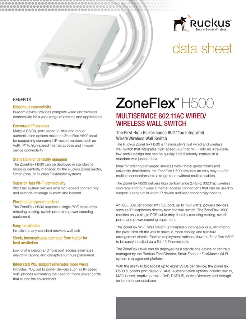 ZoneFlex H500 data sheet