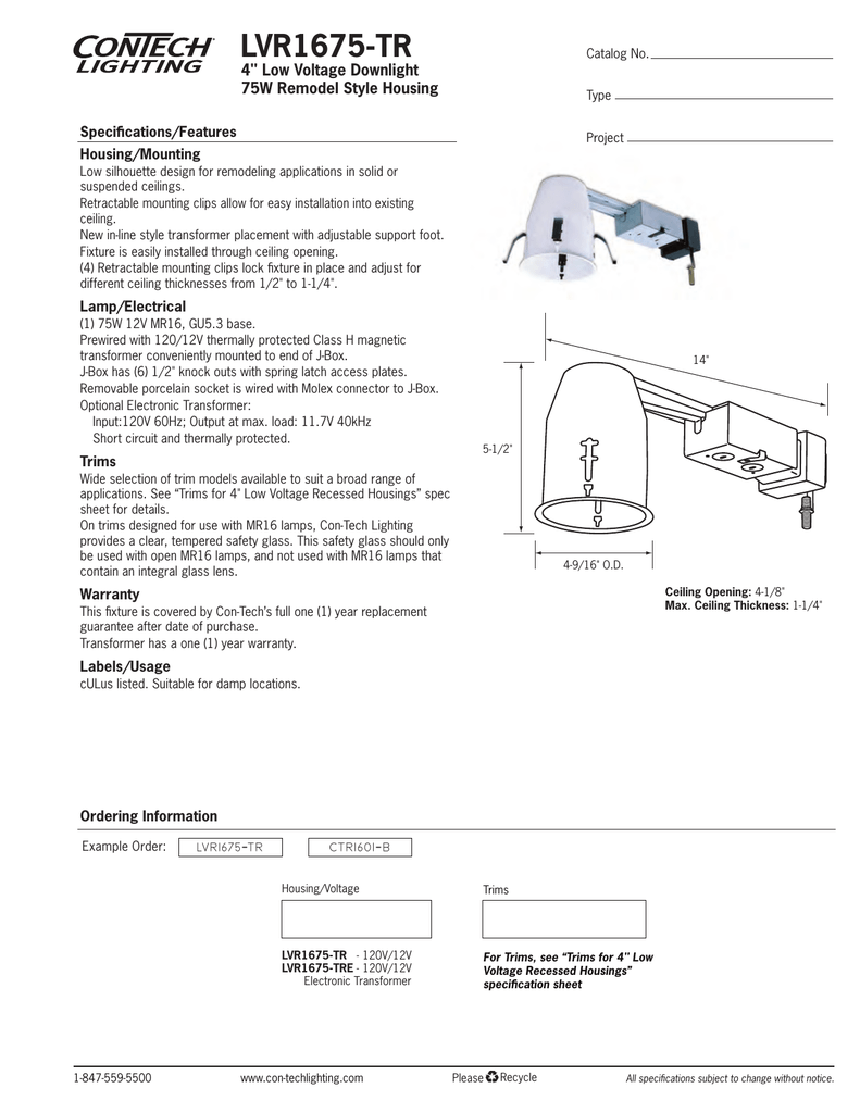 16 Type Con-Tech Lighting CTR1603-PA P Finish Lighting Trim 12V 50-75W MR