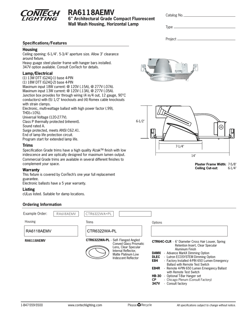 """RA6118AEMV 6"""" Architectural Grade Compact Fluorescent Wall Wash Housing,  Horizontal Lamp Specifications/Features"""