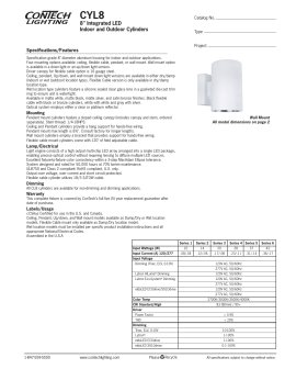 "CYL8 8"" Integrated LED Indoor and Outdoor Cylinders Specifications/Features"