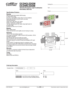 EX2HGLEDEM EX2HRLEDEM LED Exit/Emergency Light Combination with Battery Back-Up