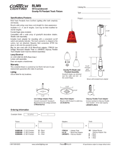 RLM9 G9 Incandescent Gravity-Fit Pendant Track Fixture Specifications/Features