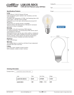LG6105.5DCS 5.5W LED A19 Filament Lamp, E26 Base Specifications/Features Lamp