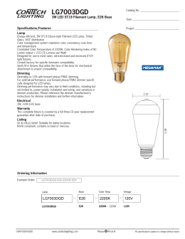 LG7003DGD 3W LED ST19 Filament Lamp, E26 Base Specifications/Features Lamp