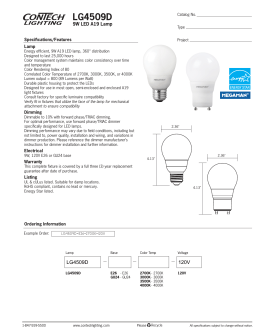 LG4509D 9W LED A19 Lamp Specifications/Features Lamp