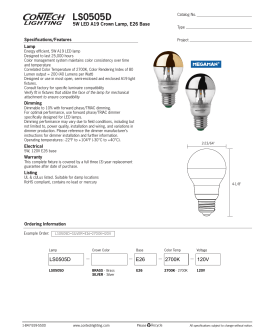LS0505D 5W LED A19 Crown Lamp, E26 Base Specifications/Features Lamp